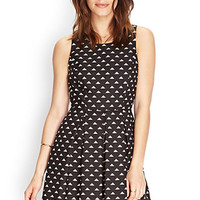 FOREVER 21 Pleated Triangle-Print Tea Dress Black/Cream