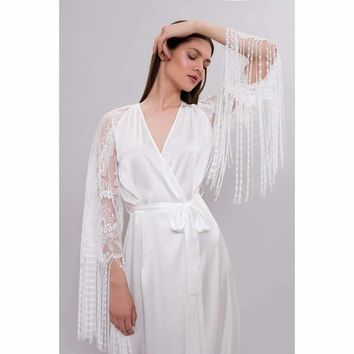 Long Silk Bridal Robe F29