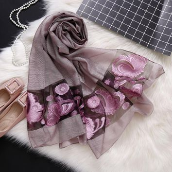 new 2018 spring and summer women scarf fashion hollow Embroidery lady shawls and wraps long size pashmina female bandana stoles