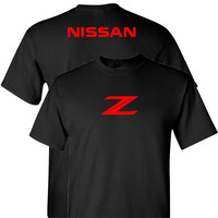 Nissan Z in Red on a Black T Shirt
