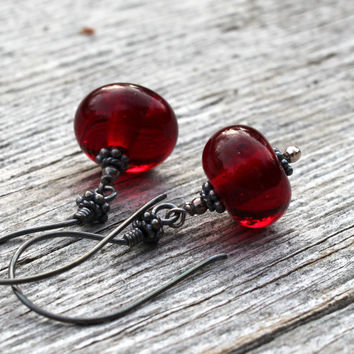 Deep Red Dangle Glass Earrings, Oxidized Sterling Silver, Lampwork Jewelry, Handmade,  Red Glass, Christmas Jewelry