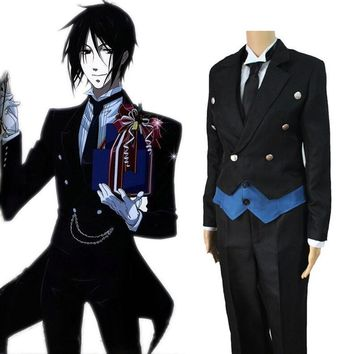 Anime Black Butler Sebastian Michaelis Uniform Cosplay Costume Full Set Tuxedo ( Jacket + Vest + Shirt + Pants + Tie + Gloves )