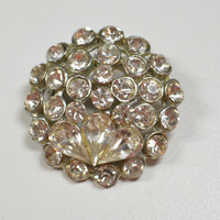 Vintage Clear Rhinestone Round Pin Brooch Antique Brooch Antique Pin Wedding Special Occasion Jewelry Round Pear Shaped Rhinestones