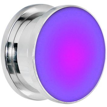 18mm Stainless Steel Purple LED Light Up Screw Fit Plug