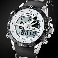 Excelvan®Fashion Unisex Waterproof Steel LED Watches Round Shaped with Double Movt Display Time