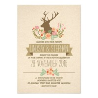 Deer antlers romantic rustic wedding invitations