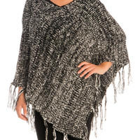Black V-Neck Pullover Knitted Poncho