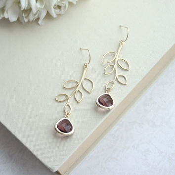Plum Purple Glass, Gold Leaf Dangle Drop Earrings, Bridesmaid Gift,  Plum and Gold Wedding. Bridal Earrings. Sis Birthday, Mothers Day. Wife