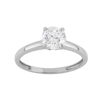 Cubic Zirconia Solitaire Engagement Ring in 10k Gold (White)
