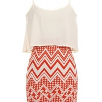 Coral Chevron Dress-$29
