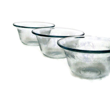 Vintage Fire King, Glass Custard Cups, Anchor Hocking, Sapphire Blue, Ramekin,  Ovenware, Set of 3, Vintage Kitchen,