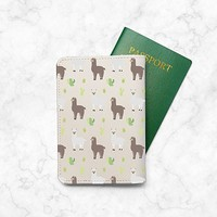 Cute LLama Pattern Passport Holder - Leather Passport Cover - Vintage Passport Wallet - Travel Accessory Gift - Travel Wallet for Women and Men_LOKISHOP