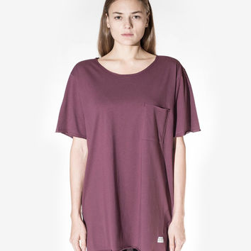 Basic Raw-Cut Elongated Short Sleeve Tee in Oxblood: WMNS
