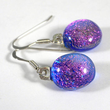 Fuchsia Pink Dichroic Glass Earrings with Blue Highlights, Sterling Silver Hooks. Gift for Wife