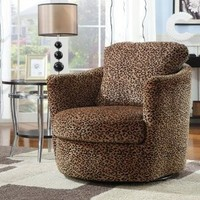 Coaster 900195 Swivel Patterned Accent Chair, Leopard