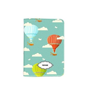 Travel Hot Air Balloon [Name Customized] Leather Passport Cover - Vintage Passport Wallet - Travel Accessory Gift - Travel Wallet for Women and Men _Mishkaa