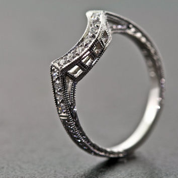 Platinum Curved and Diamond Hand Engraved Estate Design Wedding Band