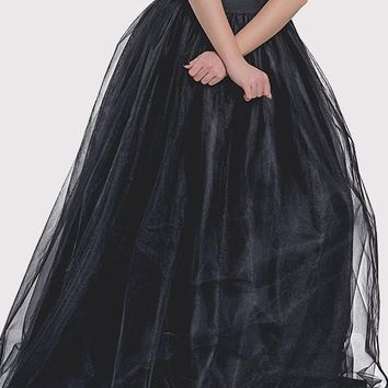 Black Patchwork Grenadine Pleated High Waisted Vintage Tutu Party Skirt