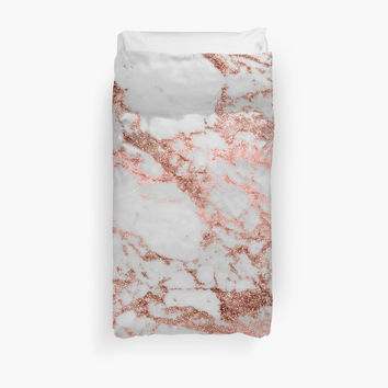 'Stylish white marble rose gold glitter texture image' Duvet Cover by InovArtS