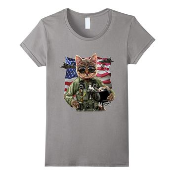 T-Shirt - Cool Cat Impersonate United States Air Force Pilot