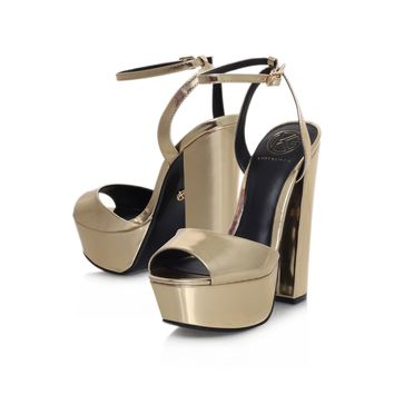 Kurt Geiger | HERO Gold High Heel Sandals by KG Kurt Geiger