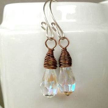 Copper Wire Wrapped Earrings with Vintage Crystals. Antique Copper Jewelry. Argentium Sterling Silver Hand Forged Ear Wire. Mixed Metals.