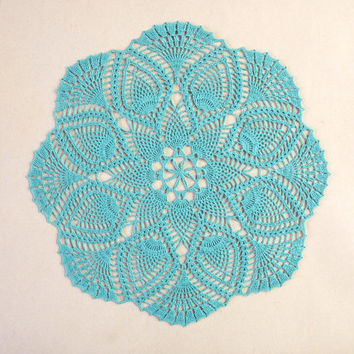 SALE -15% OFF Teal pineapple round crochet lace doily - new, handmade, cotton home decor