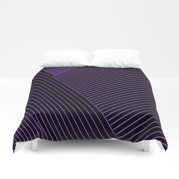 Line art, geometric stripes, abstraction, visual illusion, black background pattern Duvet Cover by hmdesignspl
