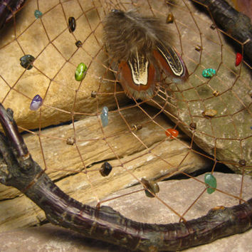 Native American Natural Cherry Wood Dreamcatcher with Gemstones from The Hidden Meadow