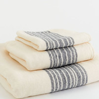 Chevron Stripe Bath Towel Collection - Navy