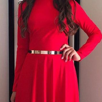 Red Draped Pleated High Neck Long Sleeve Homecoming Party Maxi Dress