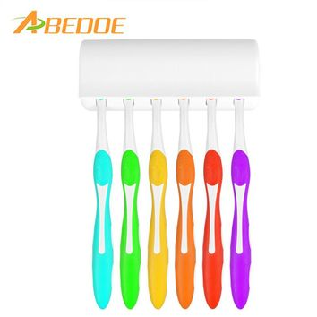 ABEDOE Toothbrush Holder for 6 Toothbrushs with Cover Double-sided Tape Bathroom Sets Suction Hooks Tooth Brush Container