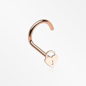 Rose Gold Dainty Heart Lock Nose Screw Ring