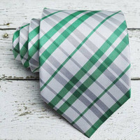 Emerald Green and Silver Gray Tie. Plaid Tie. Green Tie. Necktie