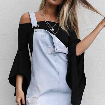 To The Top Black Bell Sleeve Bodysuit