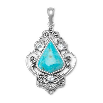 Sterling Silver Reconstituted Turquoise, Blue Topaz and Marcasite Pendant