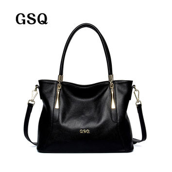 GSQ High Quality Genuine Leather Women Handbag Fashion Women Leather Messenger Bags Shoulder Bag Famous Brands Designer Tote