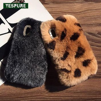 YESPURE Fancy Genuine Rabbit Fur Plush Phone Case For Iphone X Bling Glitter Rhinestone Phone Covers For Women