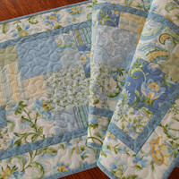 Blue and Yellow Quilted Table Runner - Table Quilt - Flowers and Paisleys Table Runner - Cottage Shabby Chic