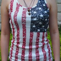 Fade Color Style Vest with USA Flag Print TYH002 from topsales