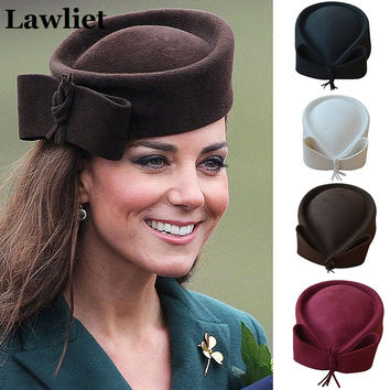 Ladies Teardrop Fancy Wool Fascinator Pillbox Hat Formal Racing Bowknot Felt Hats for Women Cocktail Party Wedding Church Fedora