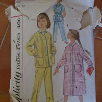 Sale UnCut 1957 Simplicity Printed Sewing Pattern, 2253! Girls, Size 12, Children, Kids, Pajamas, 1 piece or 2.