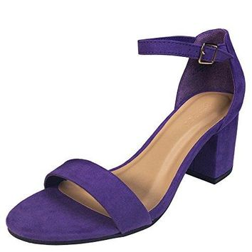 Bamboo Womens Block Heel Sandal with Ankle Strap