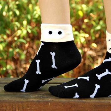 Skeleton Bone Print Googly Eye Flip Short Cotton Socks for Women | DOTOLY