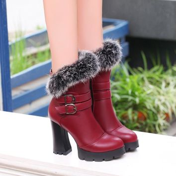 Faux Fur Decorate Hasp High Chunky Heels Short Boots
