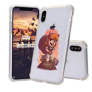 High Quality Hand-Painted Caricature Squirrel Girl Pattern Shockproof Case For iPhone