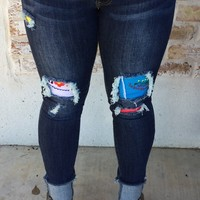 Dark Skinnies w/ Embroidered Patches
