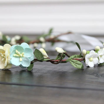 Mint and Ivory Flower Crown, Wedding Flower Headpiece, Summer Wedding Flower Crown, Wedding Flower Headband, Flower Girl Crown, Bridal Crown