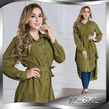 Women Muslim Clothing Casual Blouse Shirt Button Collar Long Sleeve Plus Size  Blouse Tunic Long female blusa