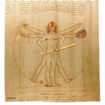 Leonardo Vitruvian Man As Baseball Player Shower Curtain